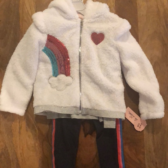 Little Lass 3 pc outfit white jacket w rainbow